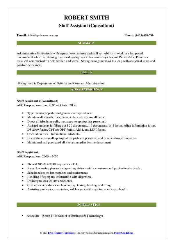 Staff Assistant (Consultant) Resume Format
