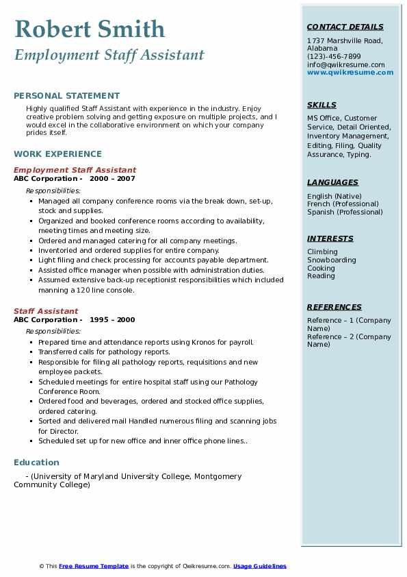 Employment Staff Assistant Resume Format
