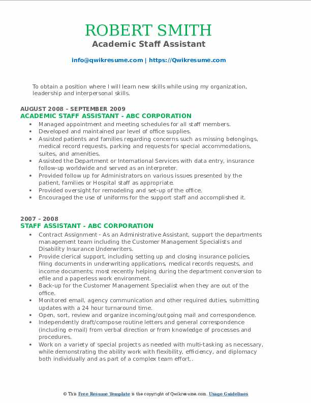 Academic Staff Assistant Resume Template