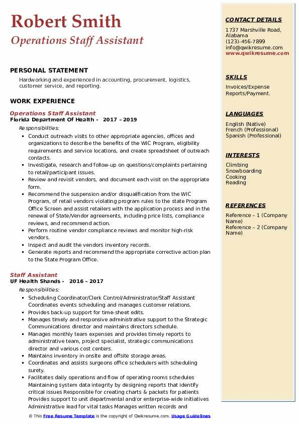 Operations Staff Assistant Resume Model