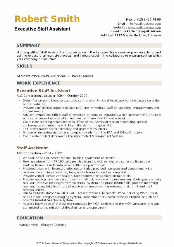 Executive Staff Assistant Resume Model