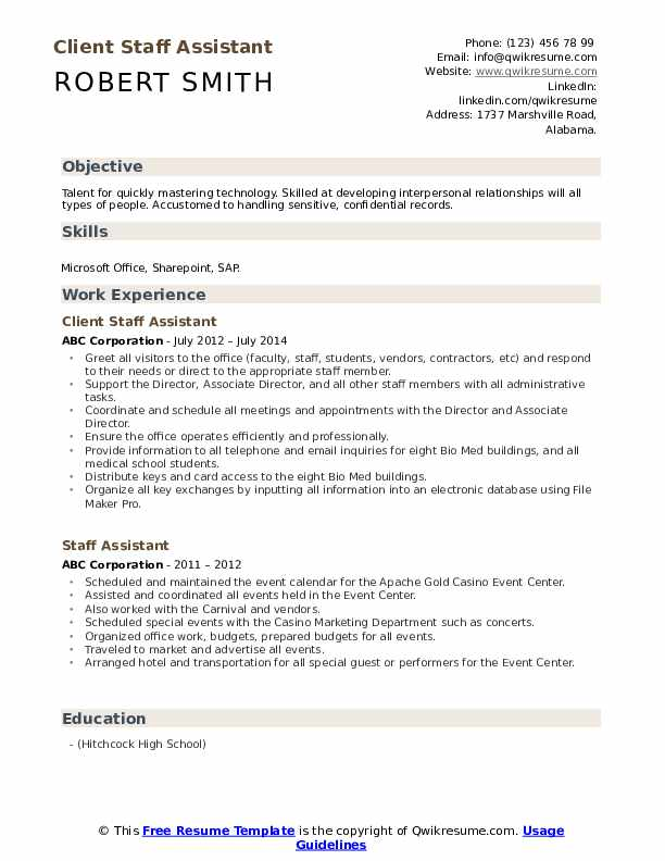 Client Staff Assistant Resume Example