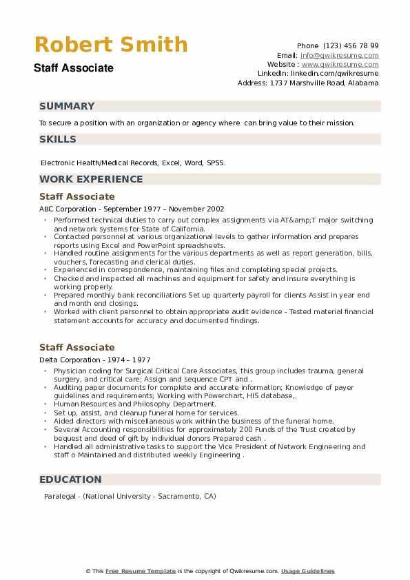 Staff Associate Resume example