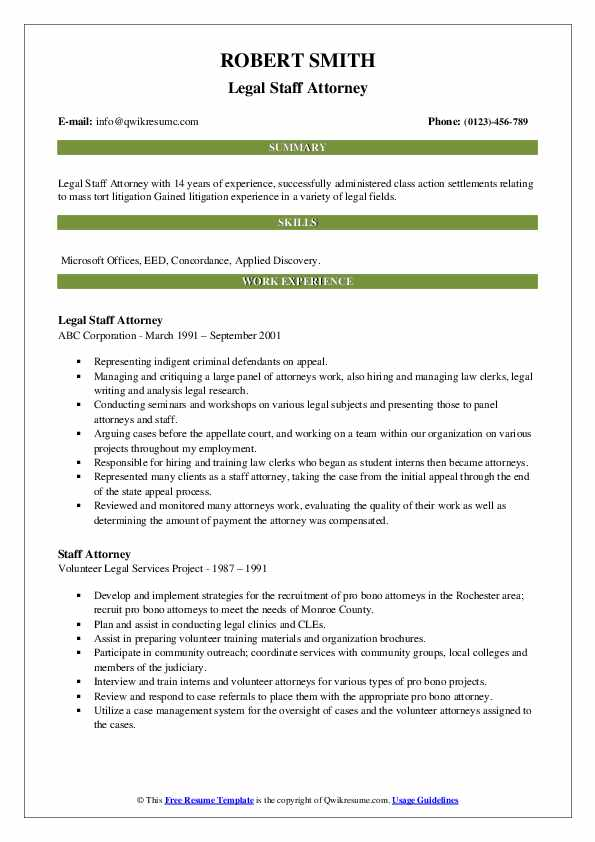 Legal Staff Attorney Resume Model