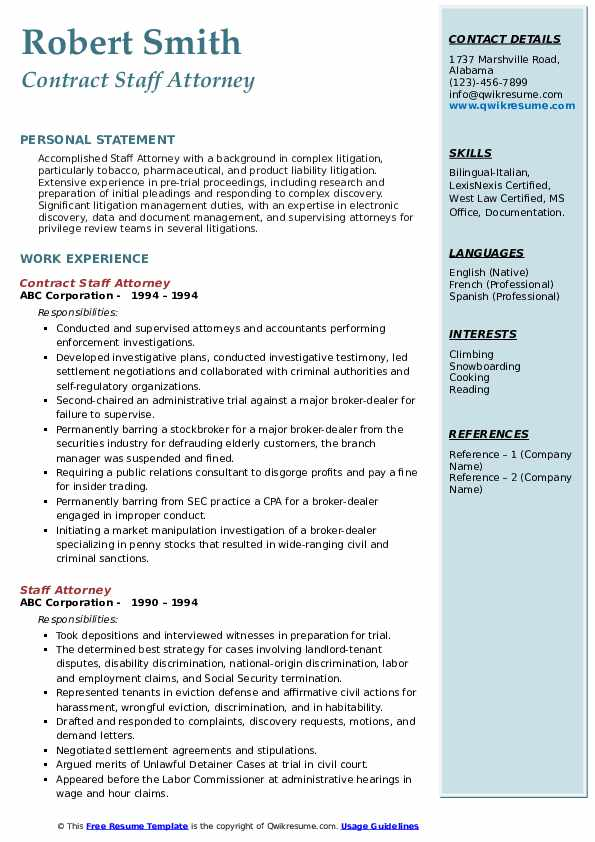 Contract Staff Attorney Resume Example