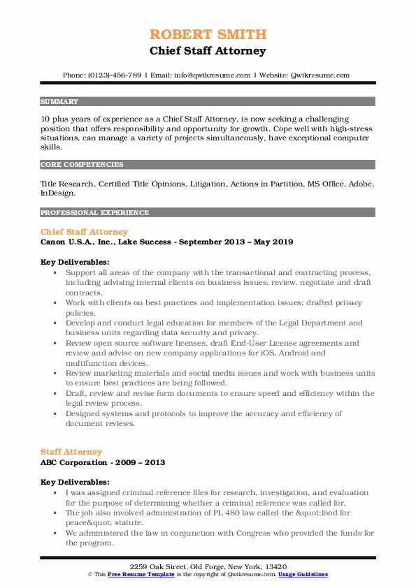 Chief Staff Attorney Resume Example