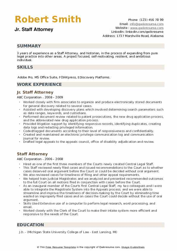 Jr. Staff Attorney Resume Sample