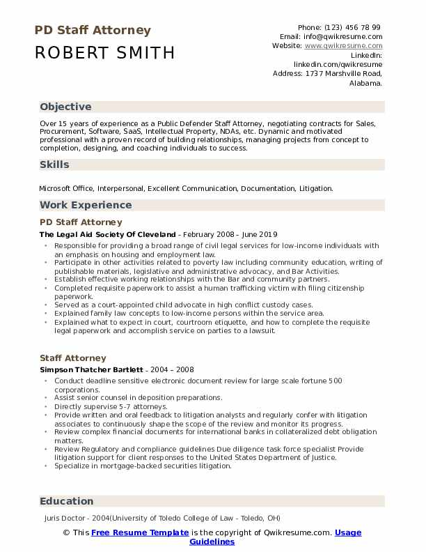 PD Staff Attorney Resume Sample