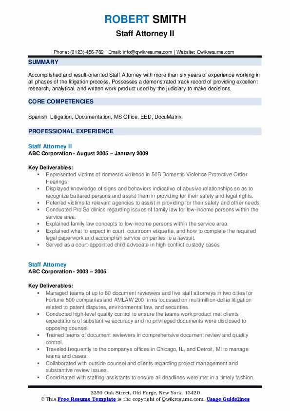 Staff Attorney II Resume Example