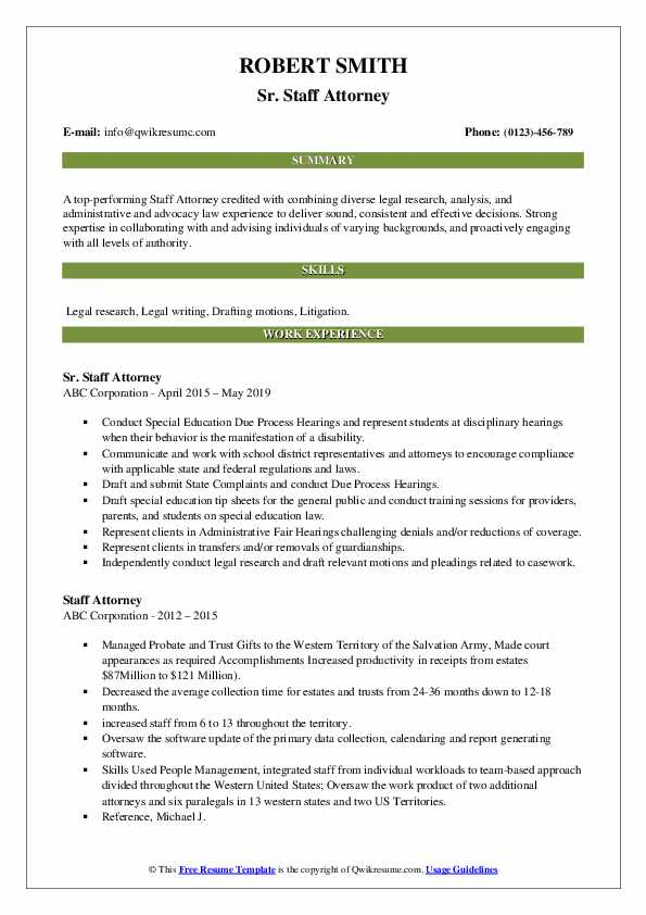 Sr. Staff Attorney Resume Sample