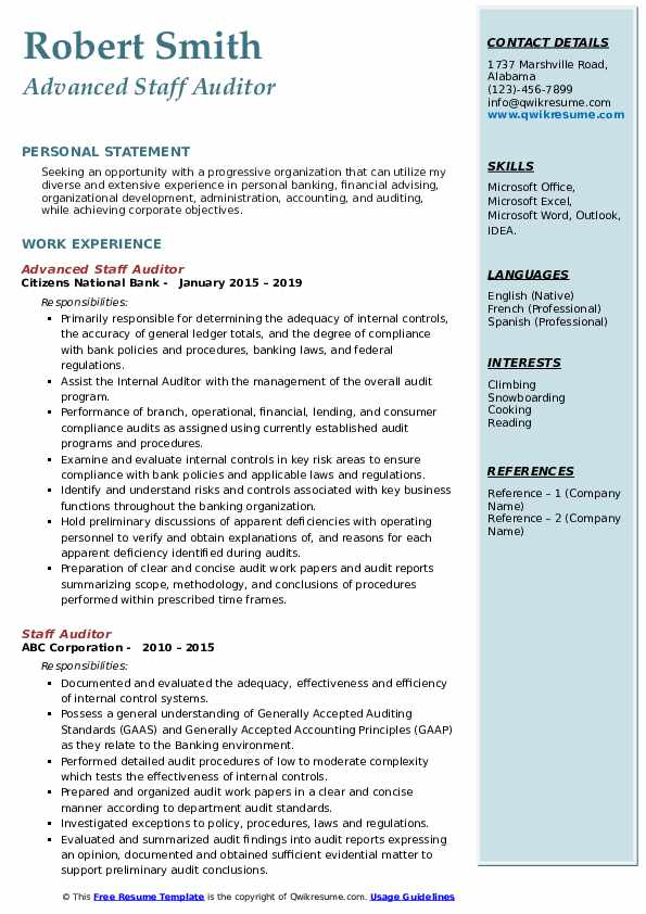 Advanced Staff Auditor Resume Example