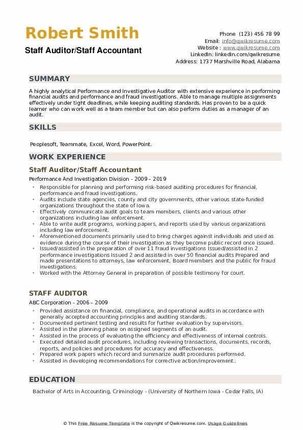 Staff Auditor/Staff Accountant Resume Sample