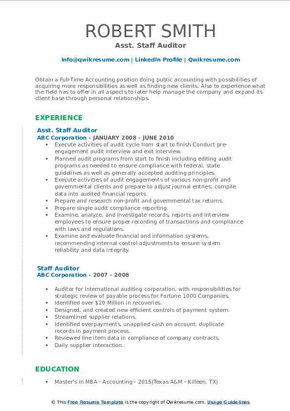 staff auditor resume samples