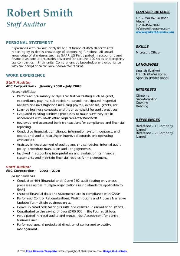 Staff Auditor Resume example