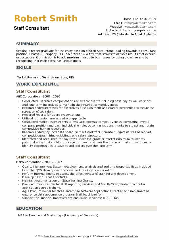 Staff Consultant Resume example