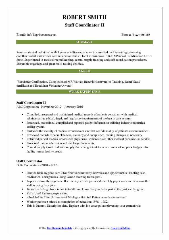 staff coordinator resume samples  qwikresume