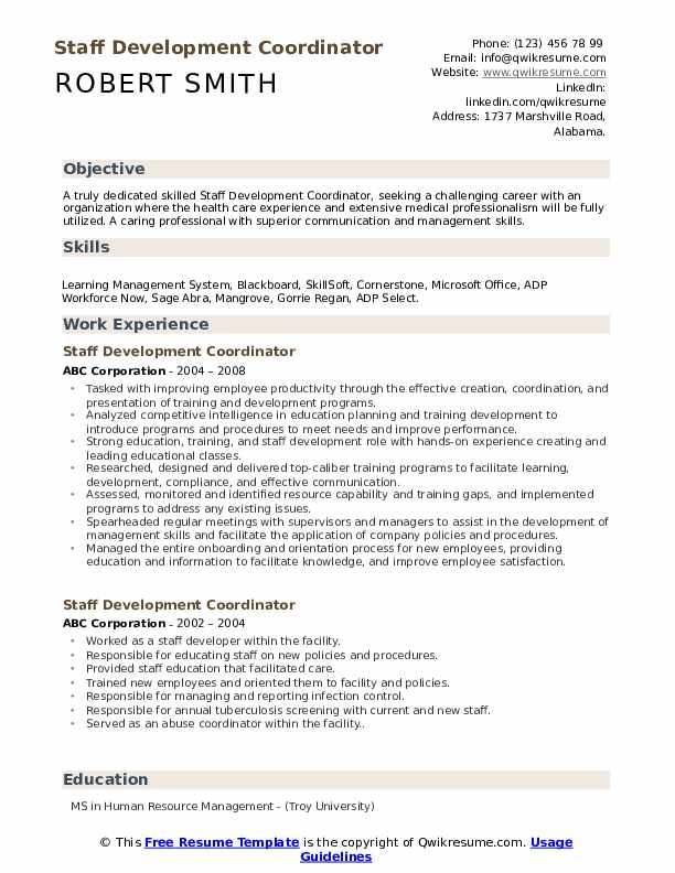 Staff Development Coordinator Resume Model