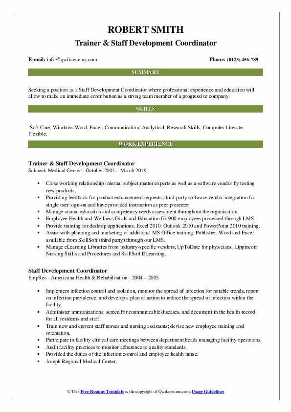 Trainer & Staff Development Coordinator Resume Example