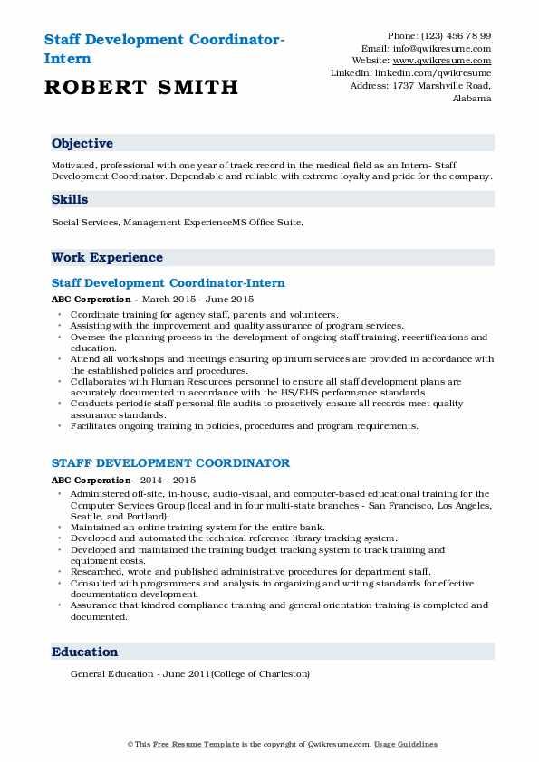 Staff Development Coordinator-Intern Resume Sample
