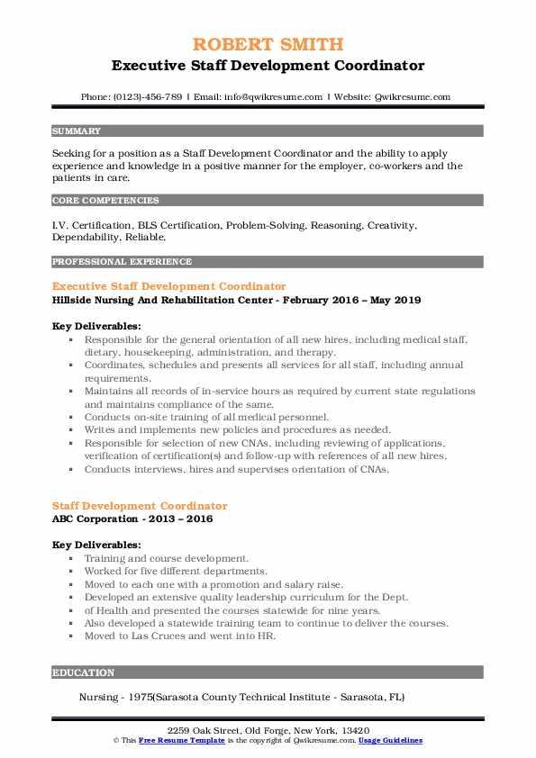 Executive Staff Development Coordinator Resume Template