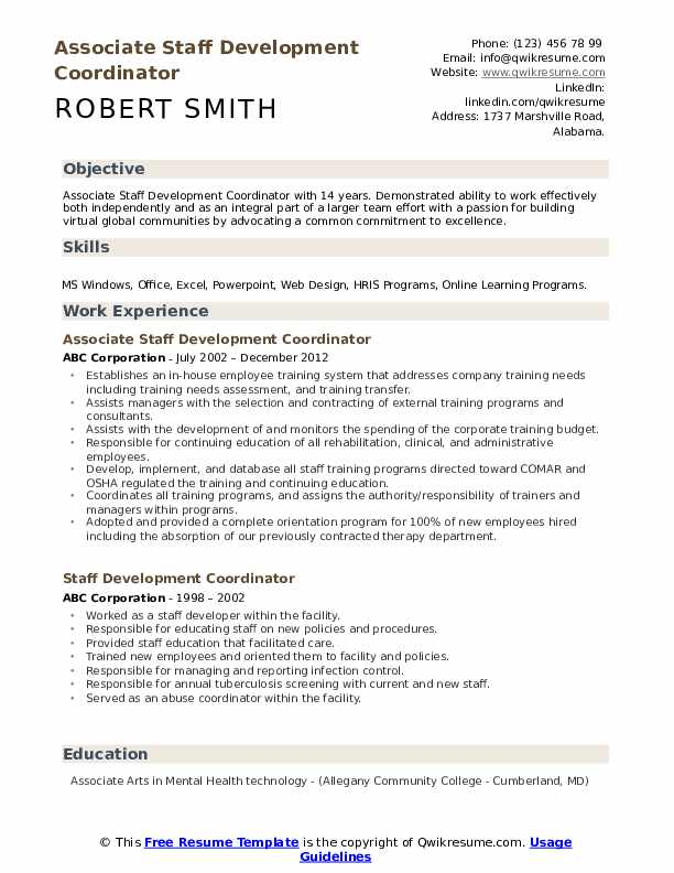 Associate Staff Development Coordinator  Resume Format