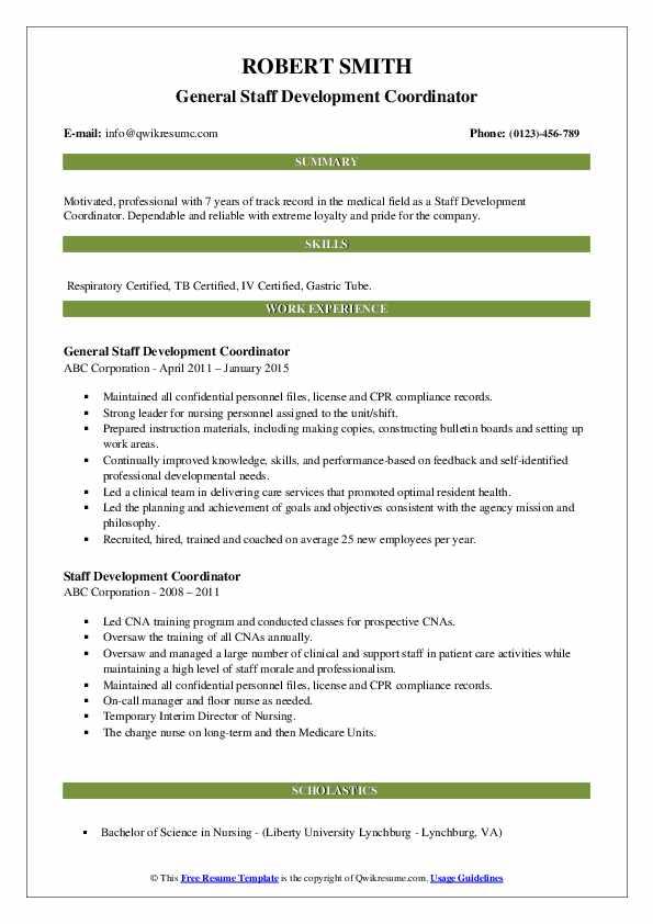 General Staff Development Coordinator Resume Template