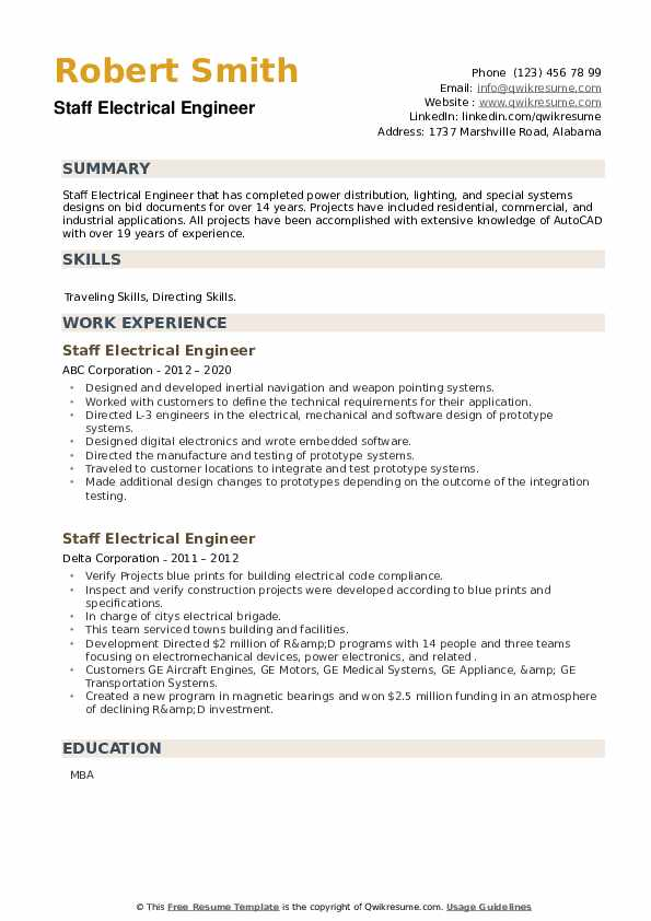 Staff Electrical Engineer Resume example
