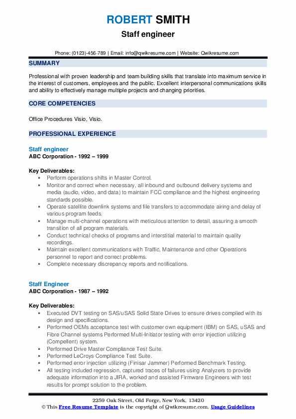 Staff Engineer Resume example