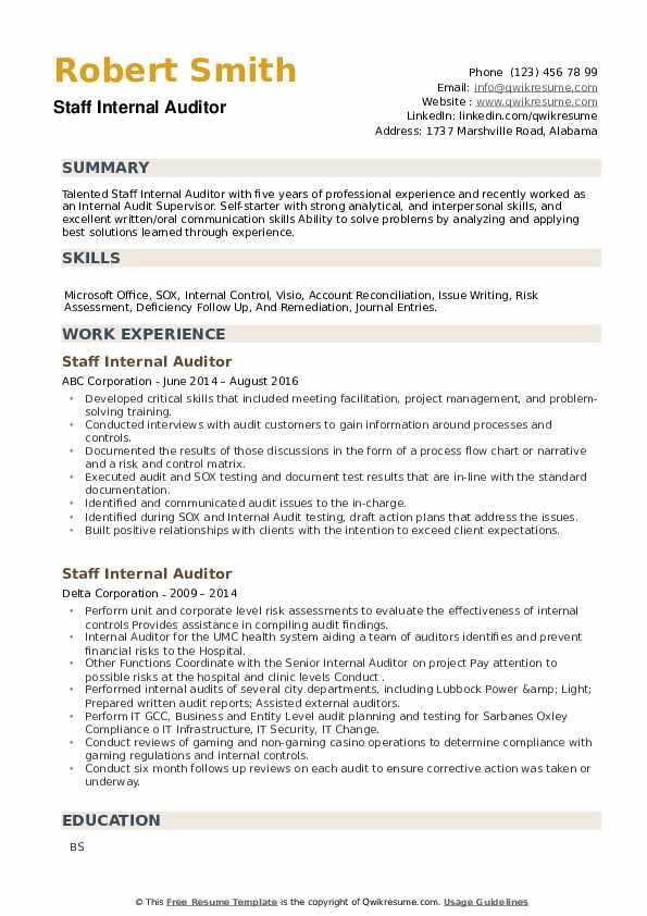 Staff Internal Auditor Resume example
