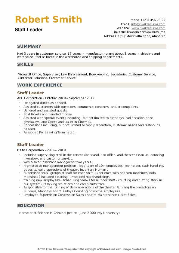 Staff Leader Resume example