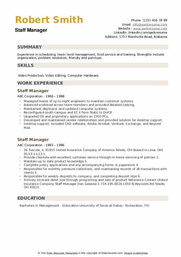 Staff Manager Resume example