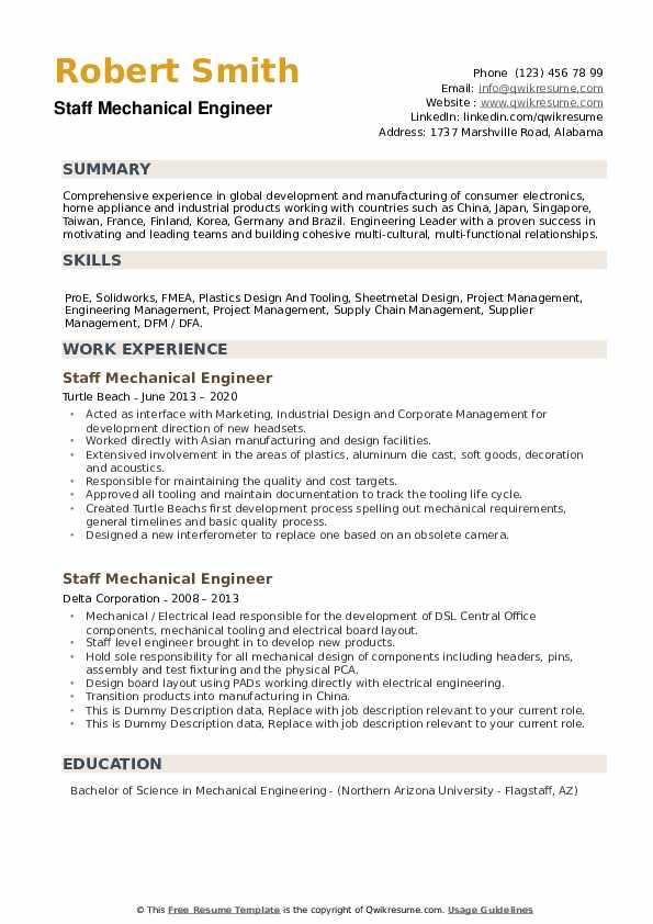 Staff Mechanical Engineer Resume example