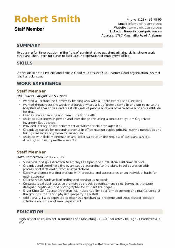 Staff Member Resume example