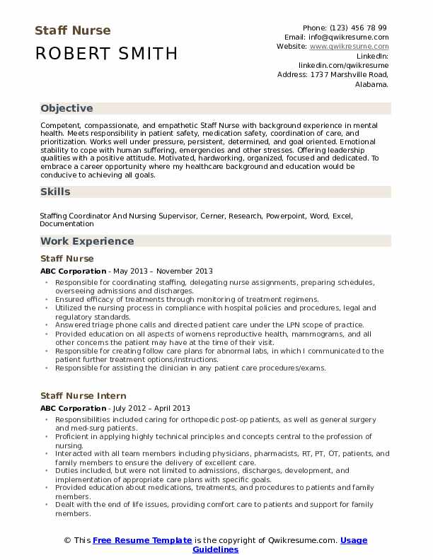 Staff Nurse Resume Samples Qwikresume