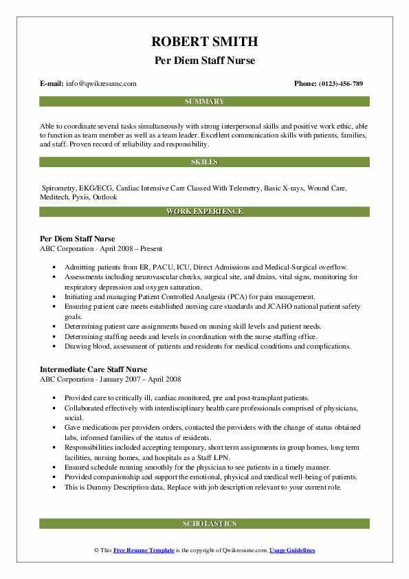 Per Diem Staff Nurse Resume Format