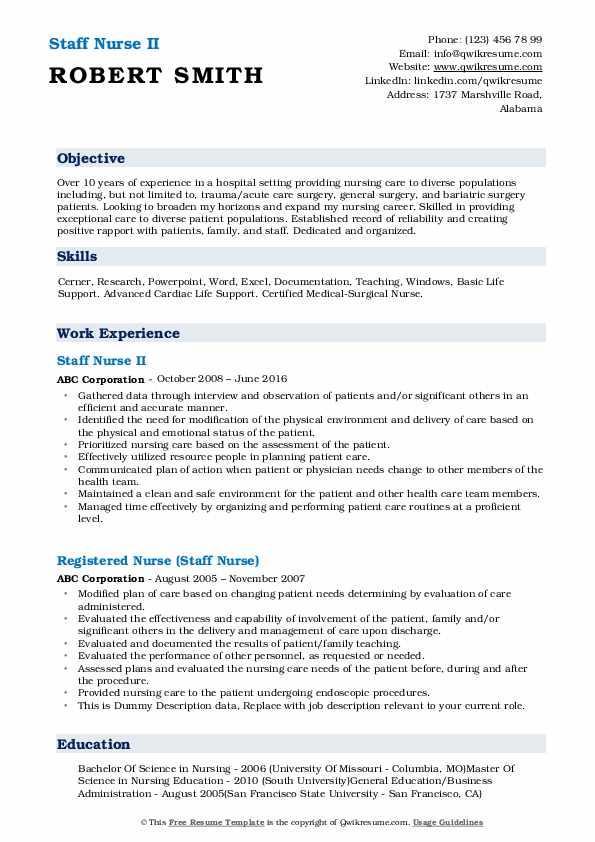 Staff Nurse II Resume Model