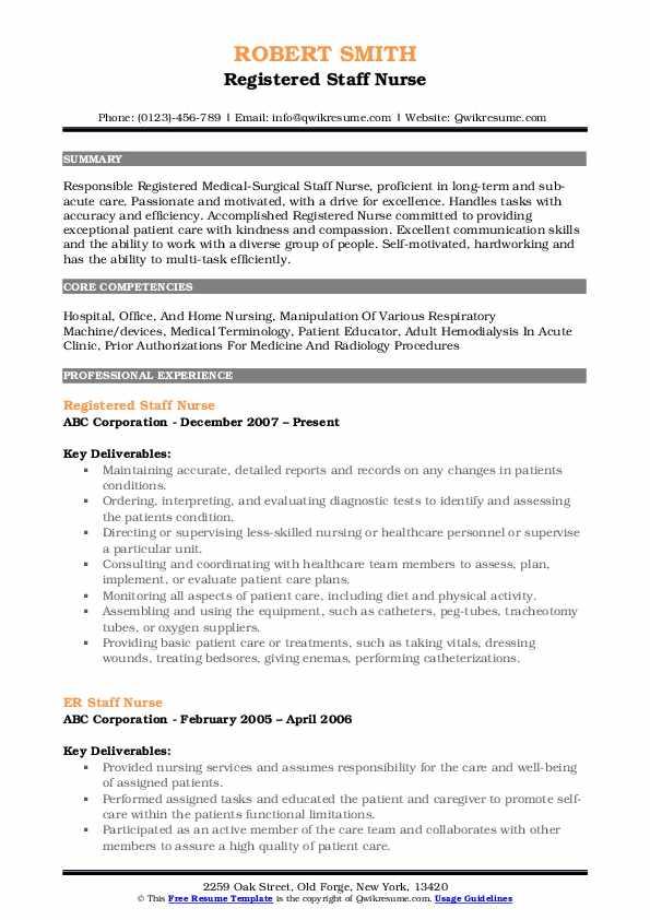 Registered Staff Nurse Resume Format