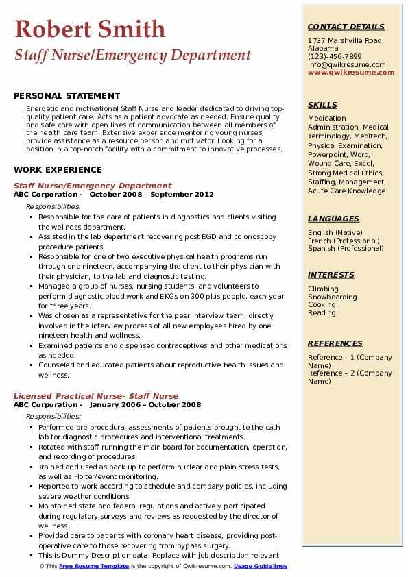 Staff Nurse/Emergency Department Resume Template