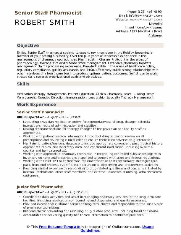 Senior Staff Pharmacist Resume Template