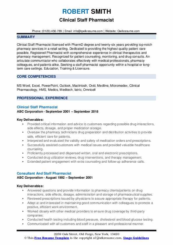 Clinical Staff Pharmacist Resume Sample