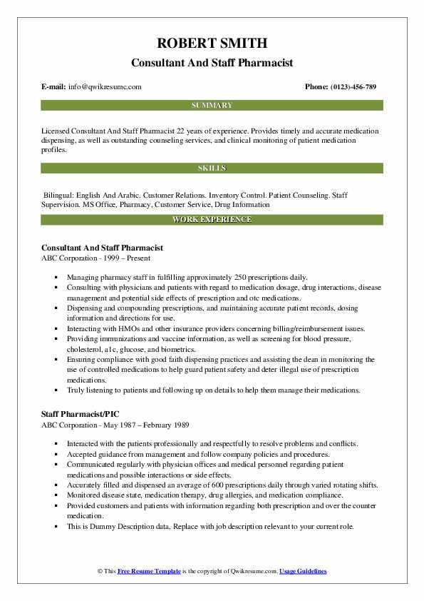 Staff Pharmacist Resume Samples | QwikResume