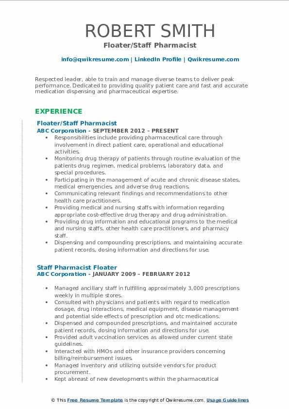 staff pharmacist resume samples