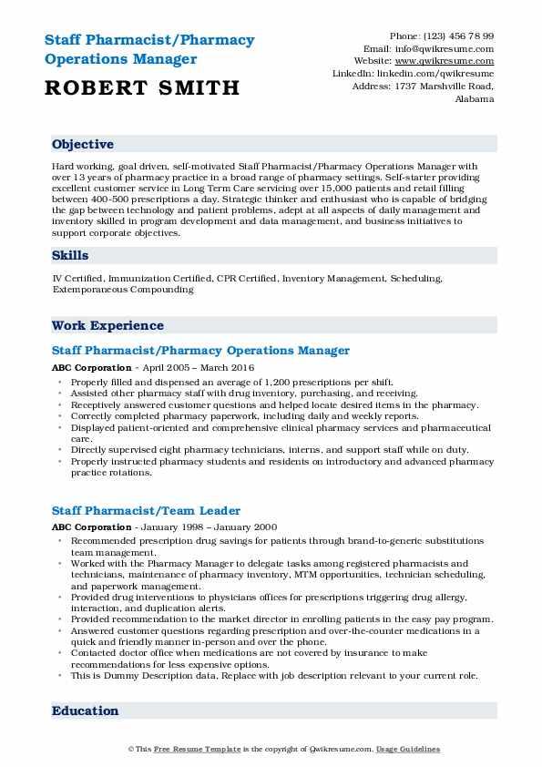 Staff Pharmacist/Pharmacy Operations Manager Resume Model