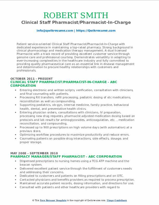 Clinical Staff Pharmacist/Pharmacist-In-Charge Resume Format
