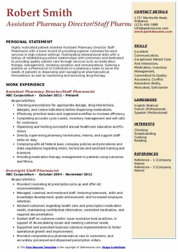 Assistant Pharmacy Director/Staff Pharmacist Resume Model