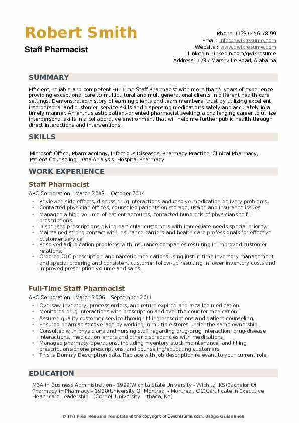 Staff Pharmacist Resume example