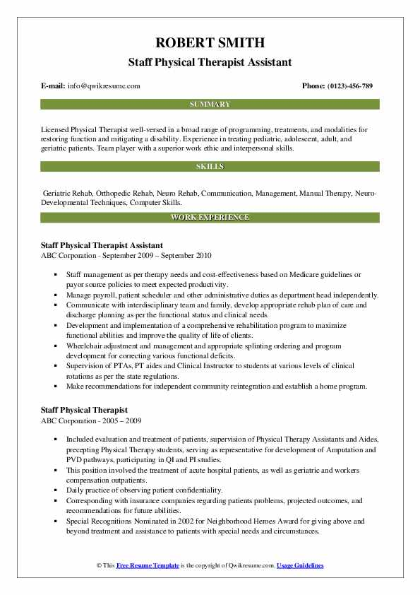 Staff Physical Therapist Assistant Resume Sample