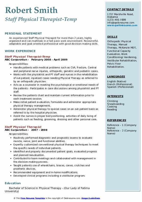 Staff Physical Therapist-Temp Resume Model