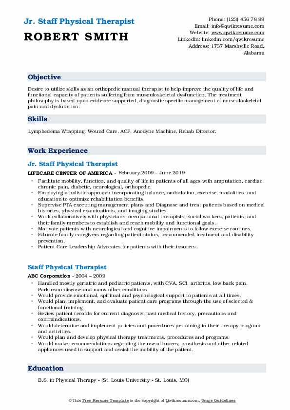 Jr. Staff Physical Therapist Resume Format