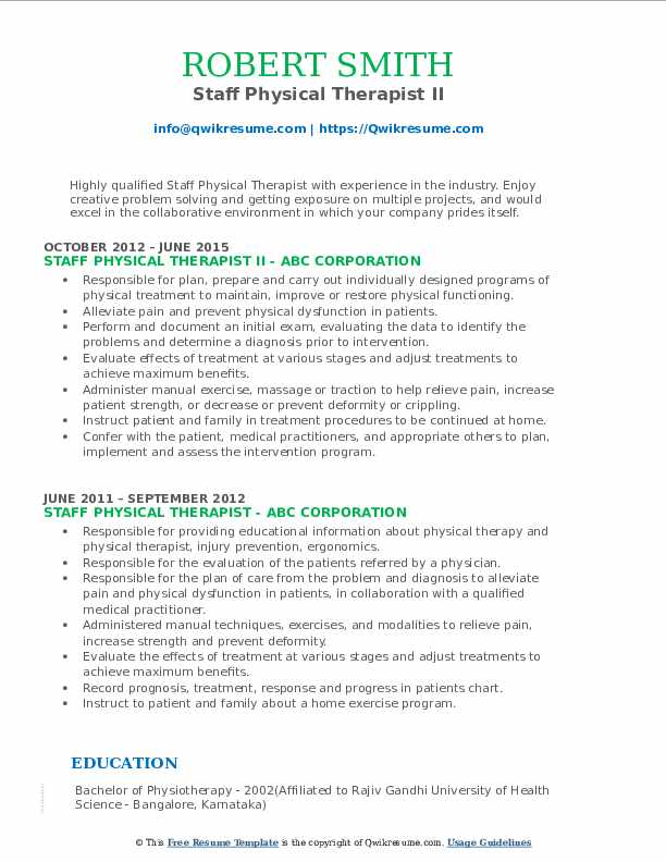 Staff Physical Therapist II Resume Template